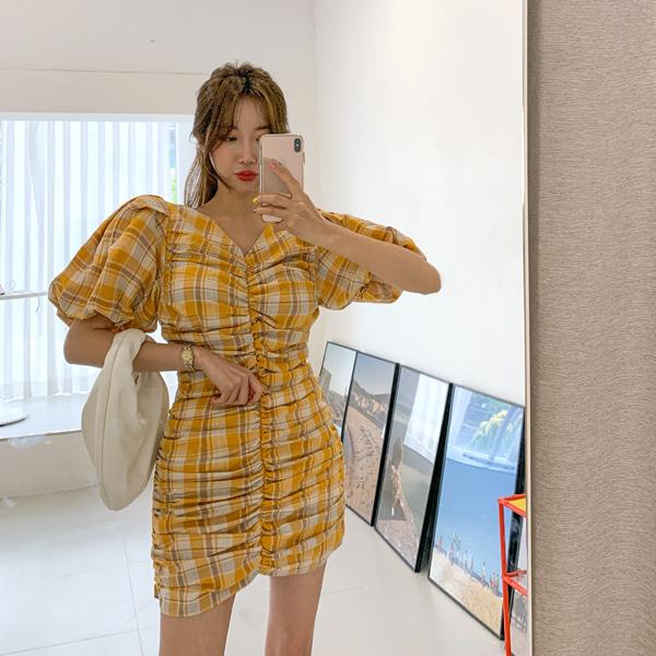 planj-체크 셔링 미니 원피스♡韓國女裝連身裙