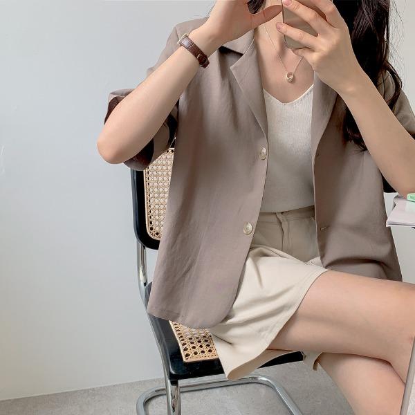 realcoco-♥NEW10%할인♥ 히피 린넨 싱글 반팔 자켓(나들이룩/레이어드)♡韓國女裝外套