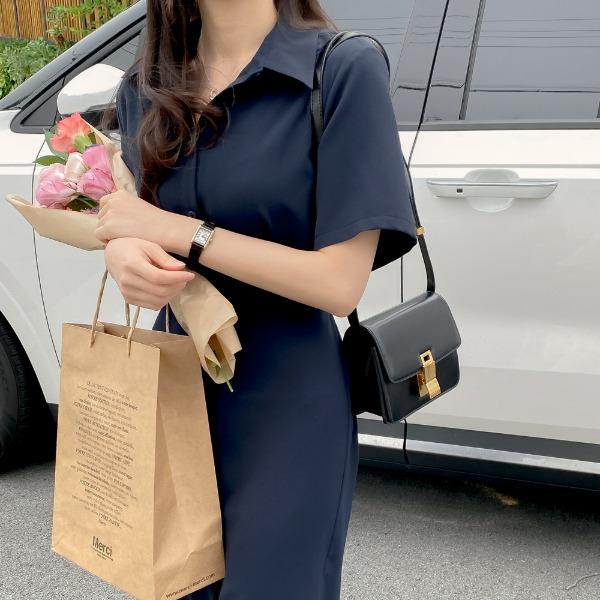 realcoco-♥NEW10%할인♥ REALMADE 시어스 반팔 셔링 롱원피스(나들이룩/데이트룩)♡韓國女裝連身裙