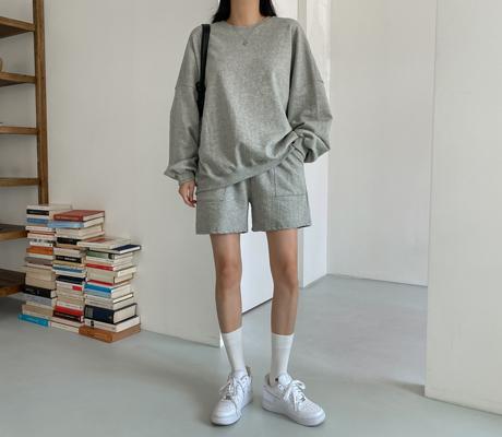 white-fox-[데일리루즈핏맨투맨&반바지세트]♡韓國女裝套裝