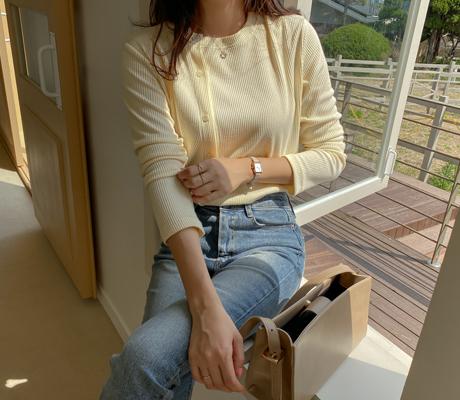 white-fox-[사선버튼포인트골지티셔츠]♡韓國女裝上衣
