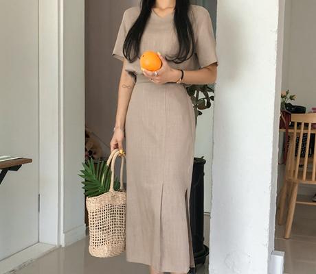 white-fox-[린넨블라우스&롱스커트SET]♡韓國女裝連身裙