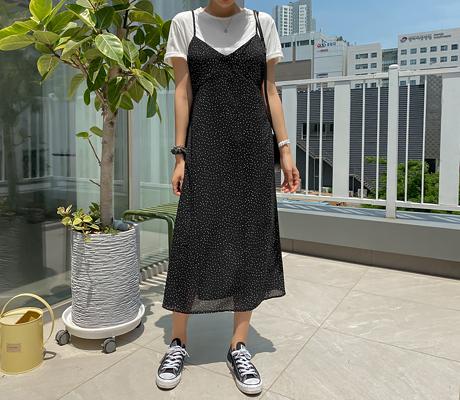 white-fox-[도트패턴뷔스티에슬릿롱원피스]♡韓國女裝連身裙