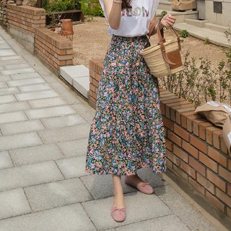 leelin-[펠리스 플로럴 패턴 롱 스커트[size:F(55~66반)]]♡韓國女裝裙