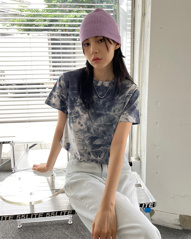 raucohouse-아우라 타이 다이 크롭 티셔츠♡韓國女裝上衣