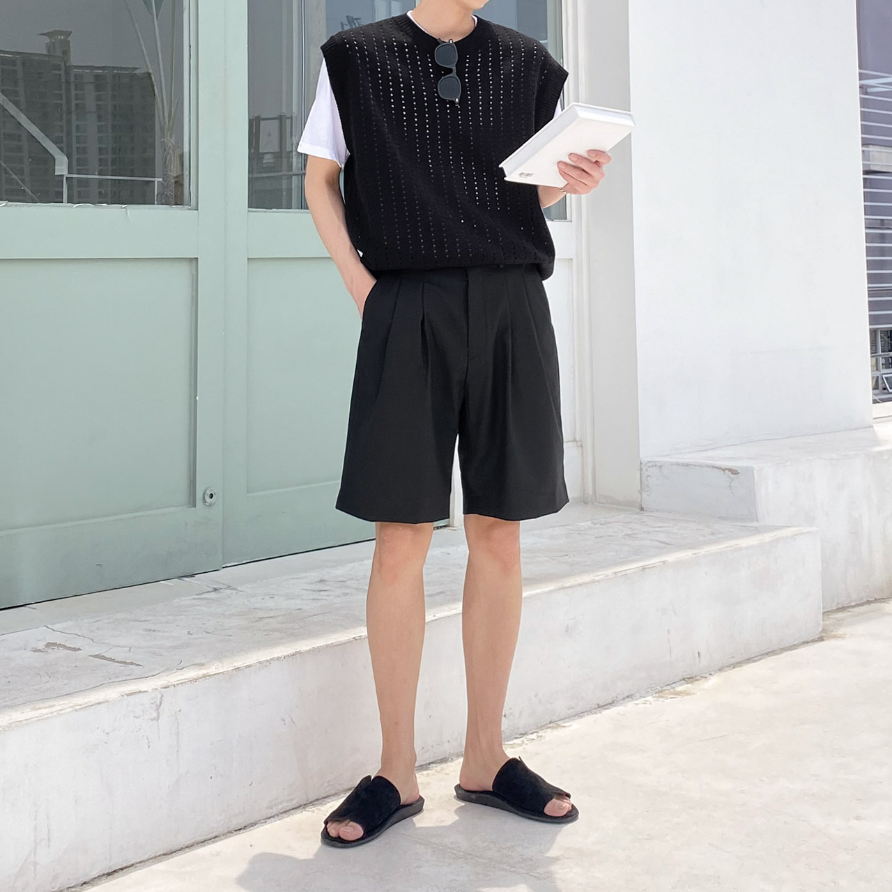 tomonari-토모나리(TOMONARI) [벤티즈 쓰리턱 하프 슬랙스 반바지]♡韓國男裝褲子