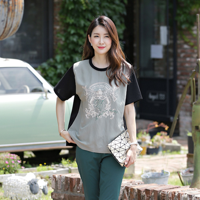 tiramisu-6615라떼핫피스자수배색블라우스♡韓國女裝上衣