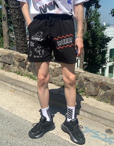 snipershop-WEED 나염 데일리 반바지♡韓國男裝褲子
