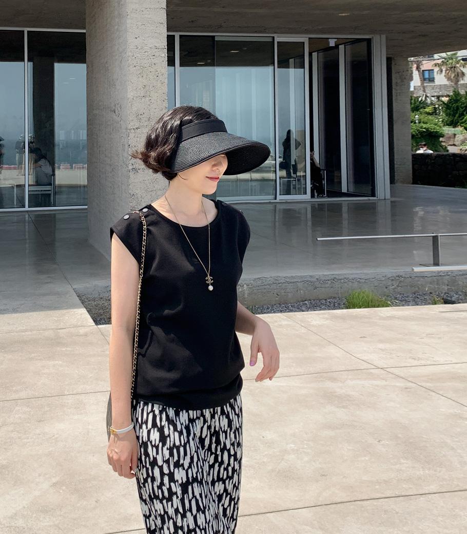 cocoblack-[리프 라인 밀짚 썬캡]♡韓國女裝飾品
