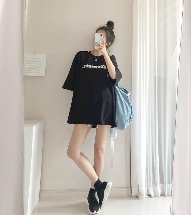 uniqueon-카피라이트 레터링 프린팅 오버핏 반팔티셔츠 [H0377]♡韓國女裝上衣
