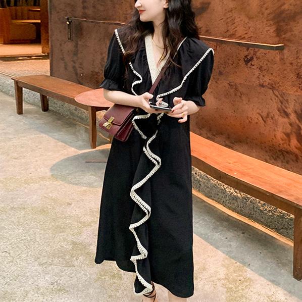 fashion-full-롤프릴 브이넥 원피스(TIME SALE 20%)♡韓國女裝連身裙