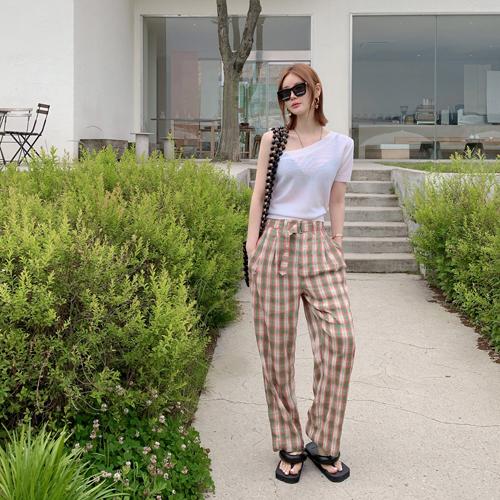 partysu-[Jeje check pants *(green, S)6월18일 입고예정*]♡韓國女裝褲