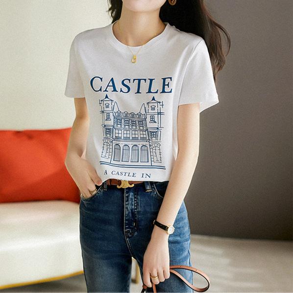 fashion-full-캐슬 라운드 반팔 티셔츠(TIME SALE 20%)♡韓國女裝上衣