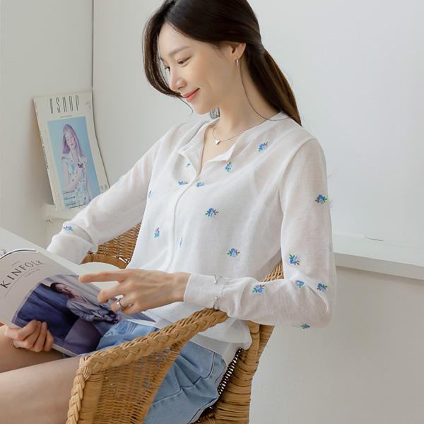 misscandy-[no.20515 라운드넥 꽃자수 썸머가디건]♡韓國女裝外套