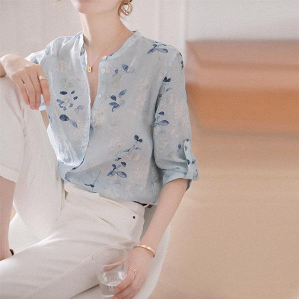 fashion-full-프로즌 라운드넥 셔츠(TIME SALE 20%)♡韓國女裝上衣