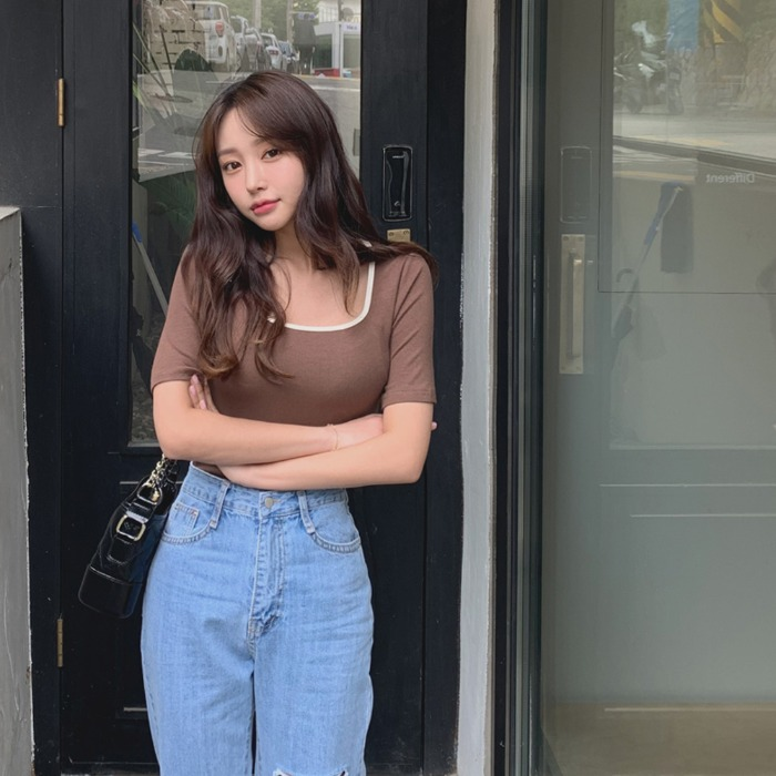 theresheis-셀리나 골지 티셔츠♡韓國女裝上衣