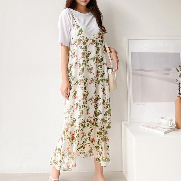 shehj-[샤라락 쉬폰 플라워 뷔스티에 원피스]♡韓國女裝連身裙