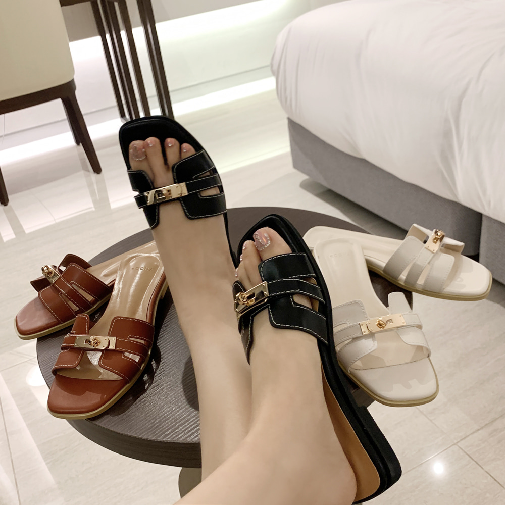 uinme-고퀄리티 버클 에르 슬리퍼 - [ 3color ] - 유인미고퀄리티 버클 에르 슬리퍼 - [ 3color ] - 유인미♡韓國女裝鞋