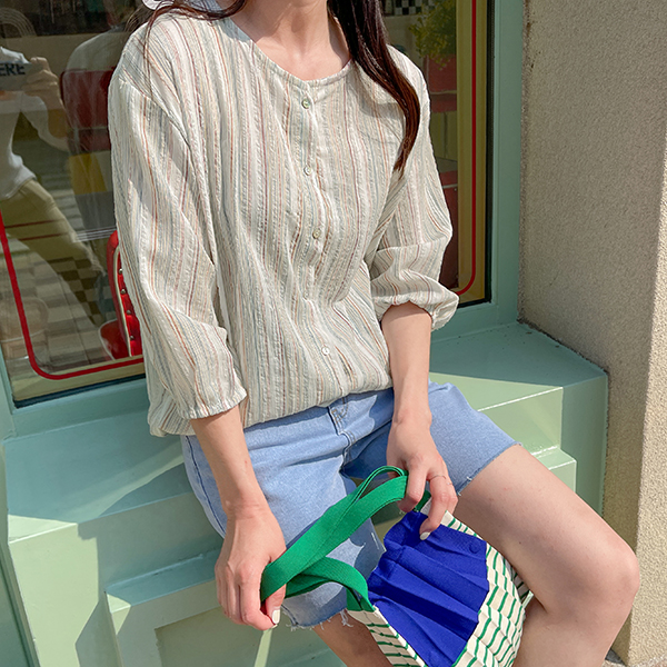 canmart-[노카라스트링줄지셔츠 C060724]♡韓國女裝外套