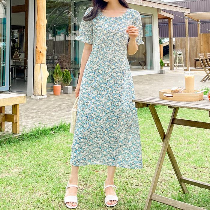 09women-[니펠 프릴 플라워 스트랩 원피스 59964]♡韓國女裝連身裙