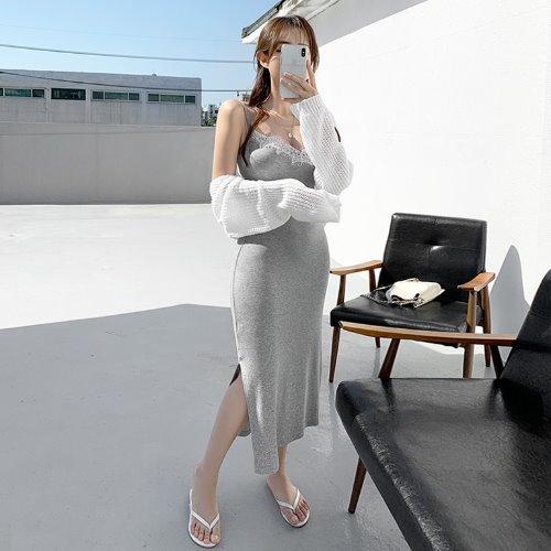 jnroh-베스 레이스 트임 끈 롱 원피스 (그레이,핑크,블랙)♡韓國女裝連身裙