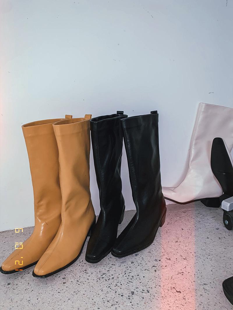 crazygirls-우드하프통부츠-sh♡韓國女裝鞋