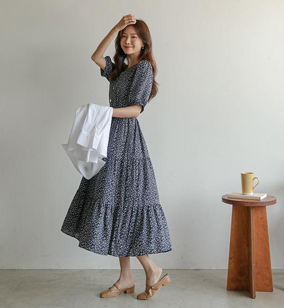 justone-기싱 V반오픈 꽃원피스(끈set)♡韓國女裝連身裙