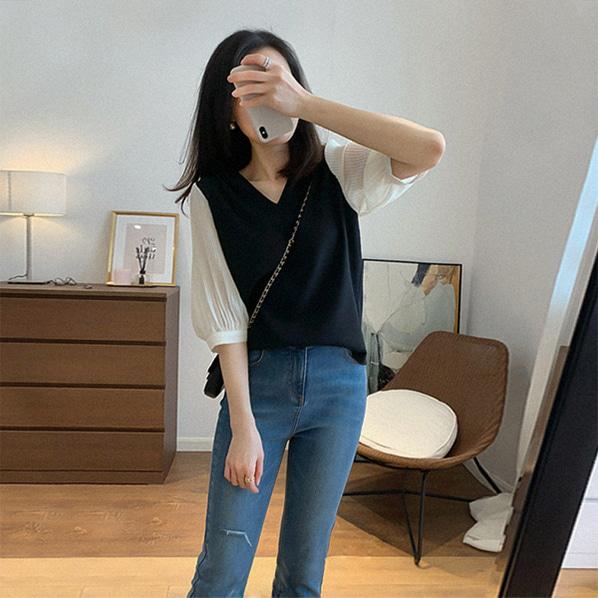 fashion-full-케이트 플리츠 소매 블라우스(TIME SALE 20%)♡韓國女裝上衣