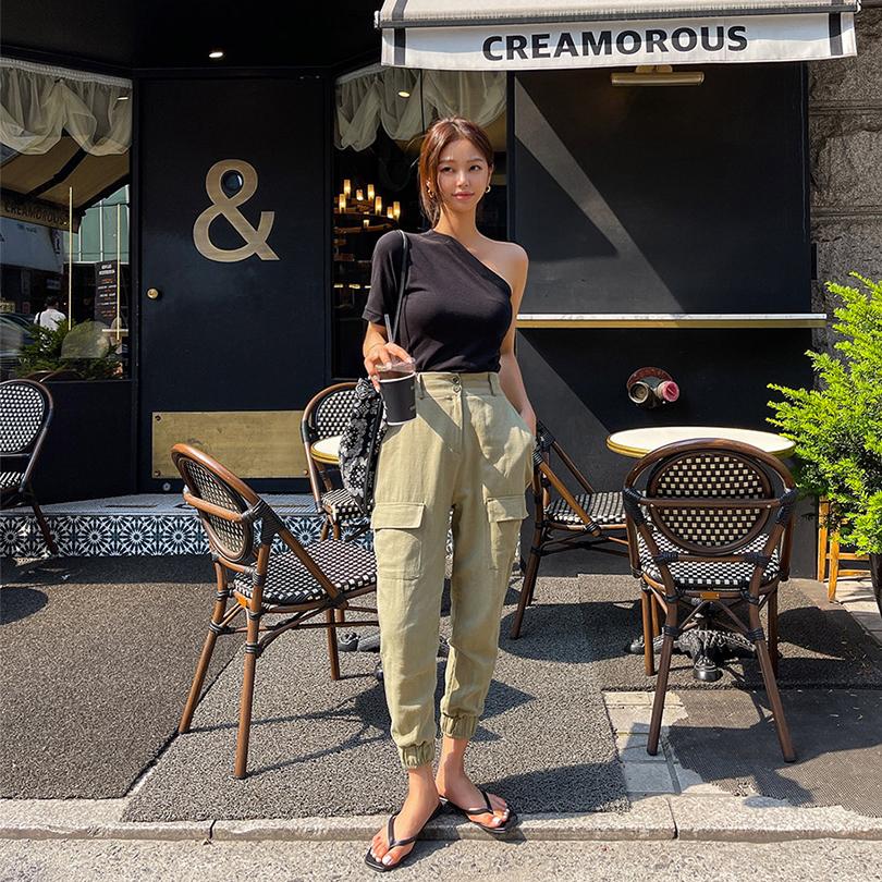 liphop-[카고밴딩조거슬랙스[린넨30%]]♡韓國女裝褲