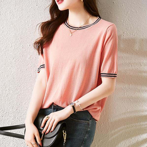 fashion-full-글리터 배색 반팔 니트(TIME SALE 20%)♡韓國女裝上衣