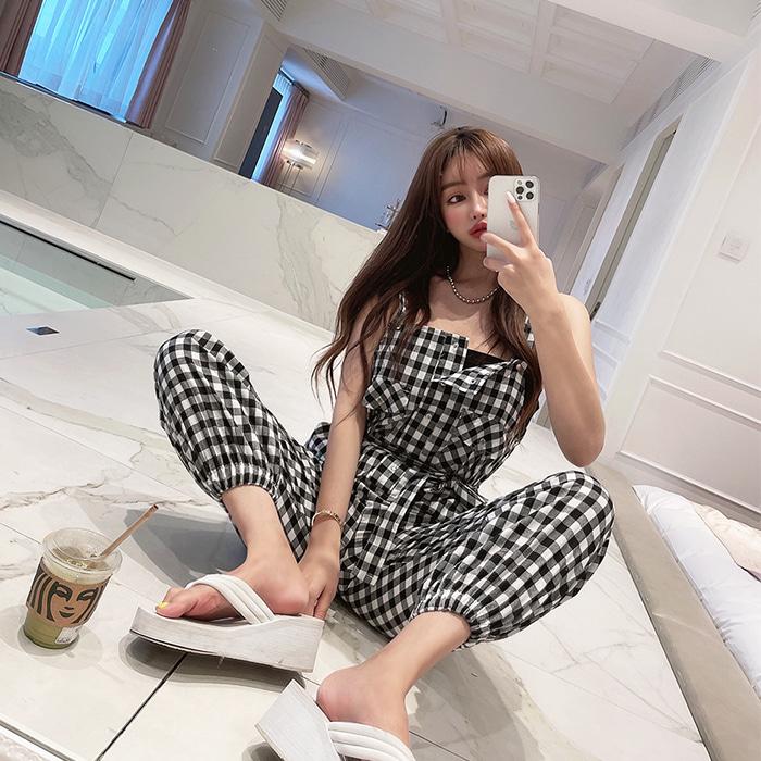 choper-귀요미체크조거점프슈트♡韓國女裝褲