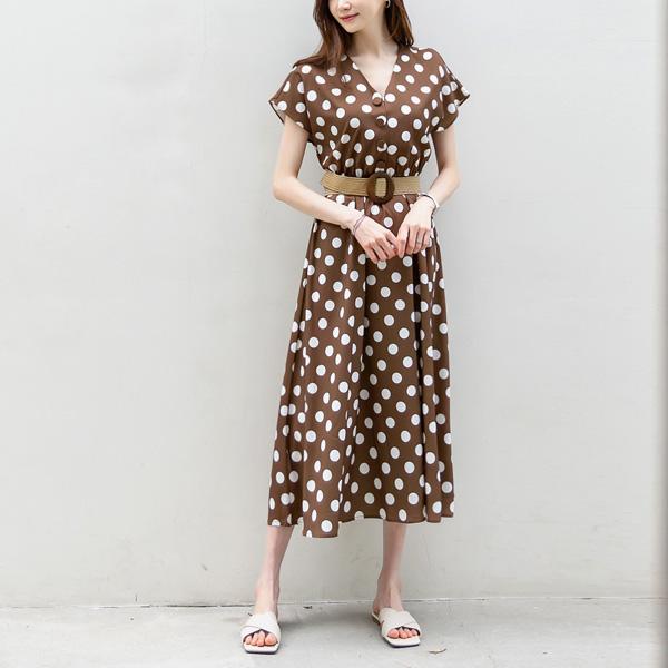misscandy-[no.20565 라탄벨트+ 브이넥 도트무늬 롱원피스]♡韓國女裝連身裙