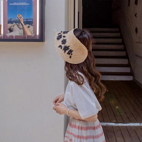 leelin-[코넬 플라워 밀짚밴드 모자]♡韓國女裝飾品