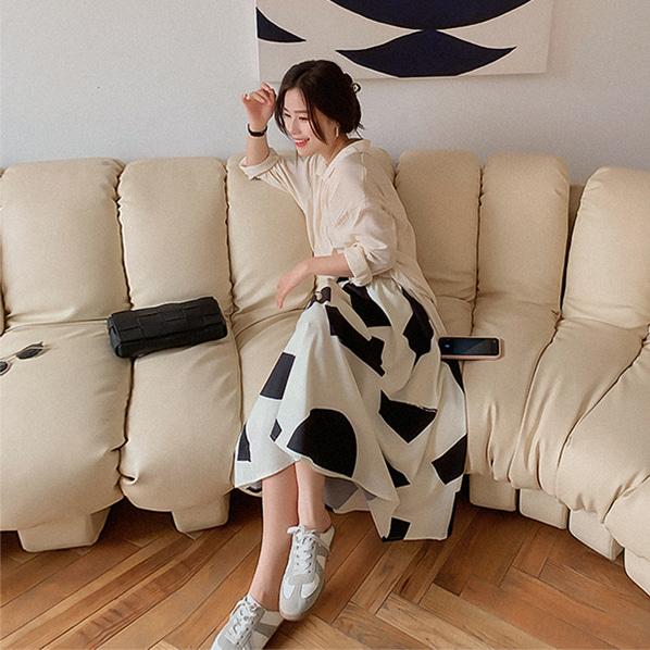 fashion-full-무클 밴딩 플레어 미디 스커트(TIME SALE 20%)♡韓國女裝裙