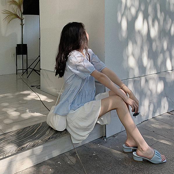 fashion-full-케이티 펀칭 스퀘어넥 블라우스(TIME SALE 20%)♡韓國女裝上衣