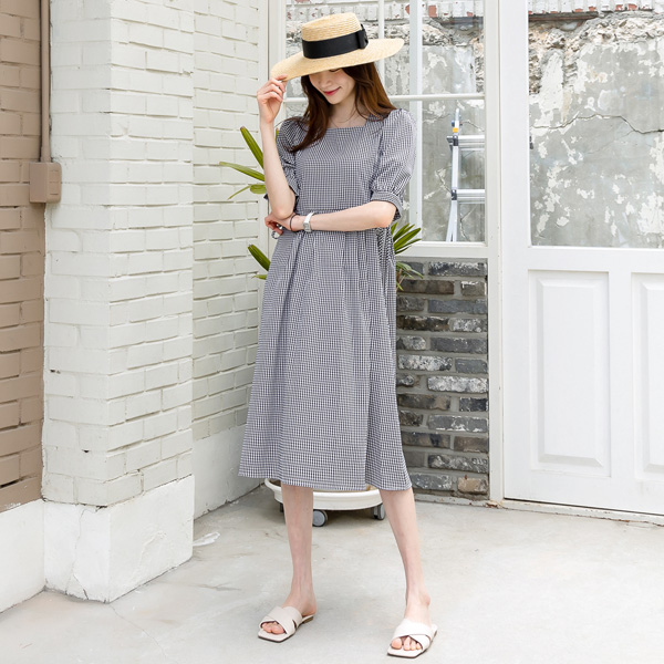 misscandy-[no.20561 사이드리본 스퀘어넥 체크원피스]♡韓國女裝連身裙