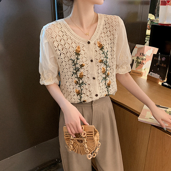fashion-full-하얏트 자수 가디건 & 핀턱 조거 슬랙스 SET (TIME SALE 20%)♡韓國女裝套裝