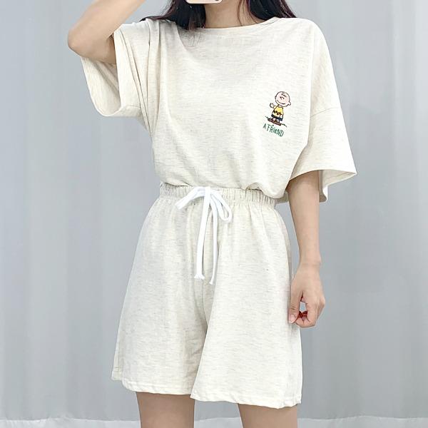 bullang-[귀요미] 찰리 백프린팅 자수 트레이닝 세트♡韓國女裝套裝