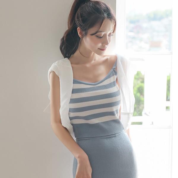 ode-[비비 스트라이프 캐미솔 크롭 니트]♡韓國女裝上衣