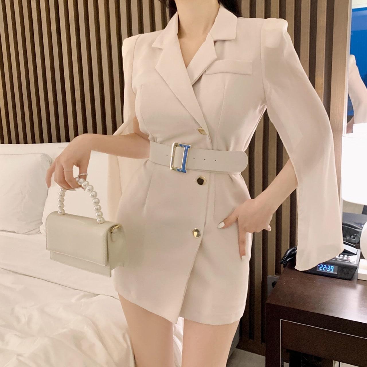 uinme-쉬폰 시스루 케이프 원피스 - [ 3color ] - 유인미쉬폰 시스루 케이프 원피스 - [ 3color ] - 유인미♡韓國女裝外套