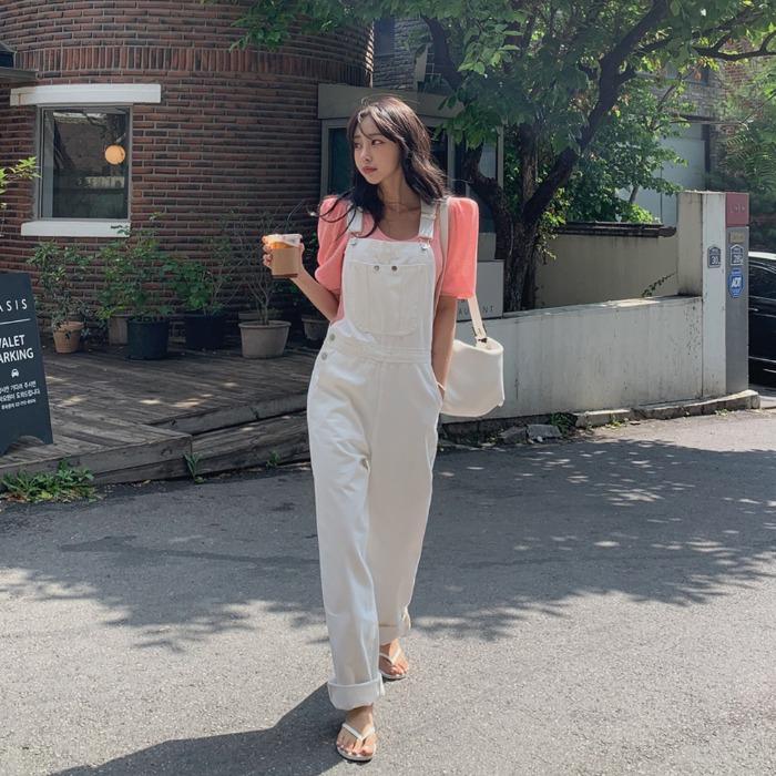 theresheis-두이스 서스펜더 데님 팬츠♡韓國女裝褲