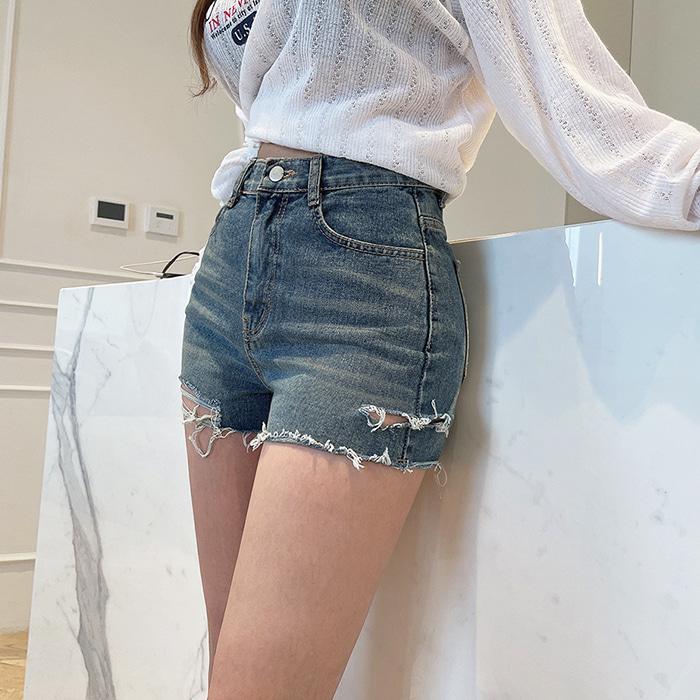 choper-옆트임구제숏팬츠♡韓國女裝褲