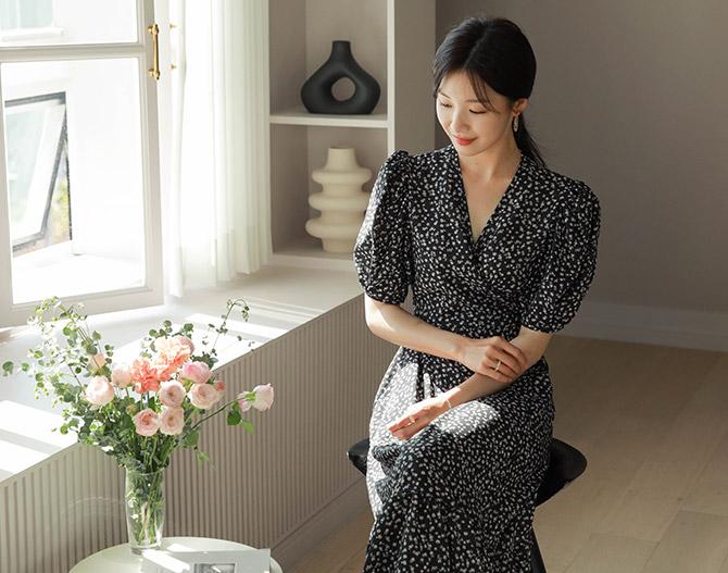 chichera-세련된 그녀들의 선택, 시크헤라[잔꽃퍼프랩원피스]♡韓國女裝連身裙