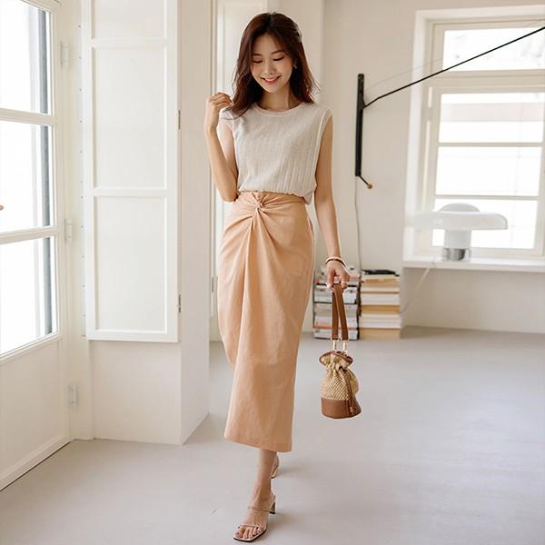 ode-[포인트 매듭 백밴딩 린넨 스커트]♡韓國女裝裙