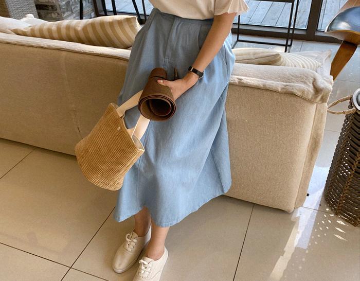 ssunny-[핀턱A라인 뒷밴딩 데님스커트]♡韓國女裝裙