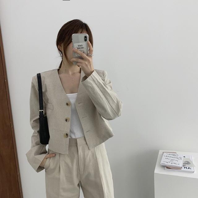 moommoom-[2컬러] 린넨 노카라 숏자켓♡韓國女裝外套