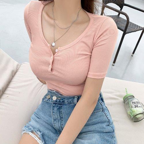 jnroh-솔즈 버튼 라운드 5부 반팔 골지 티셔츠 (아이보리,핑크,블루,블랙)♡韓國女裝上衣