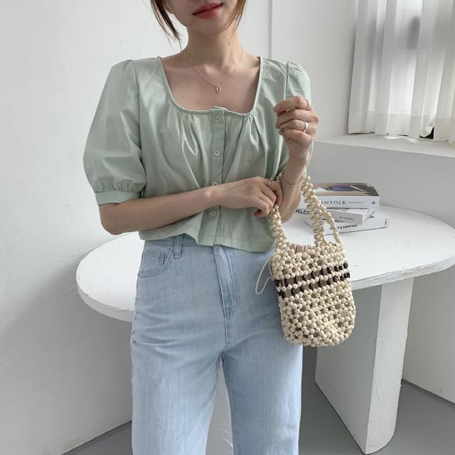 moommoom-[2컬러] 스퀘어넥 마카롱 블라우스♡韓國女裝上衣