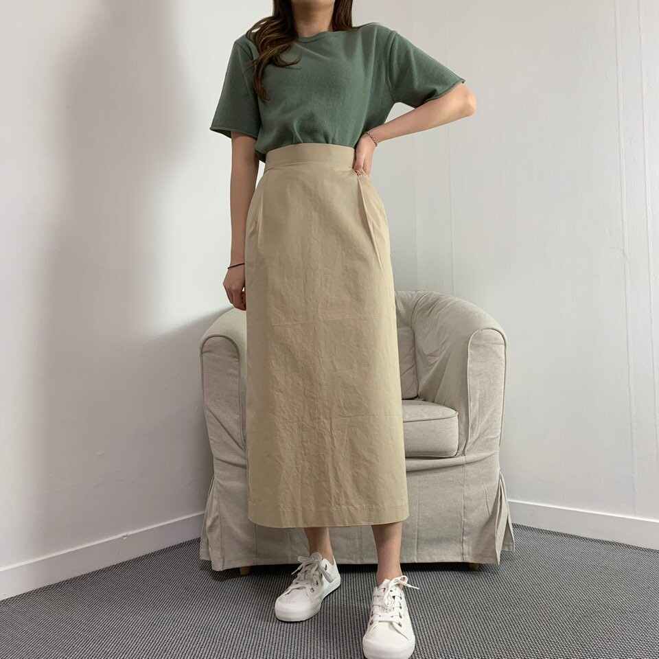 moommoom-[2컬러] 엘레강스 핀턱 면 롱스커트♡韓國女裝裙