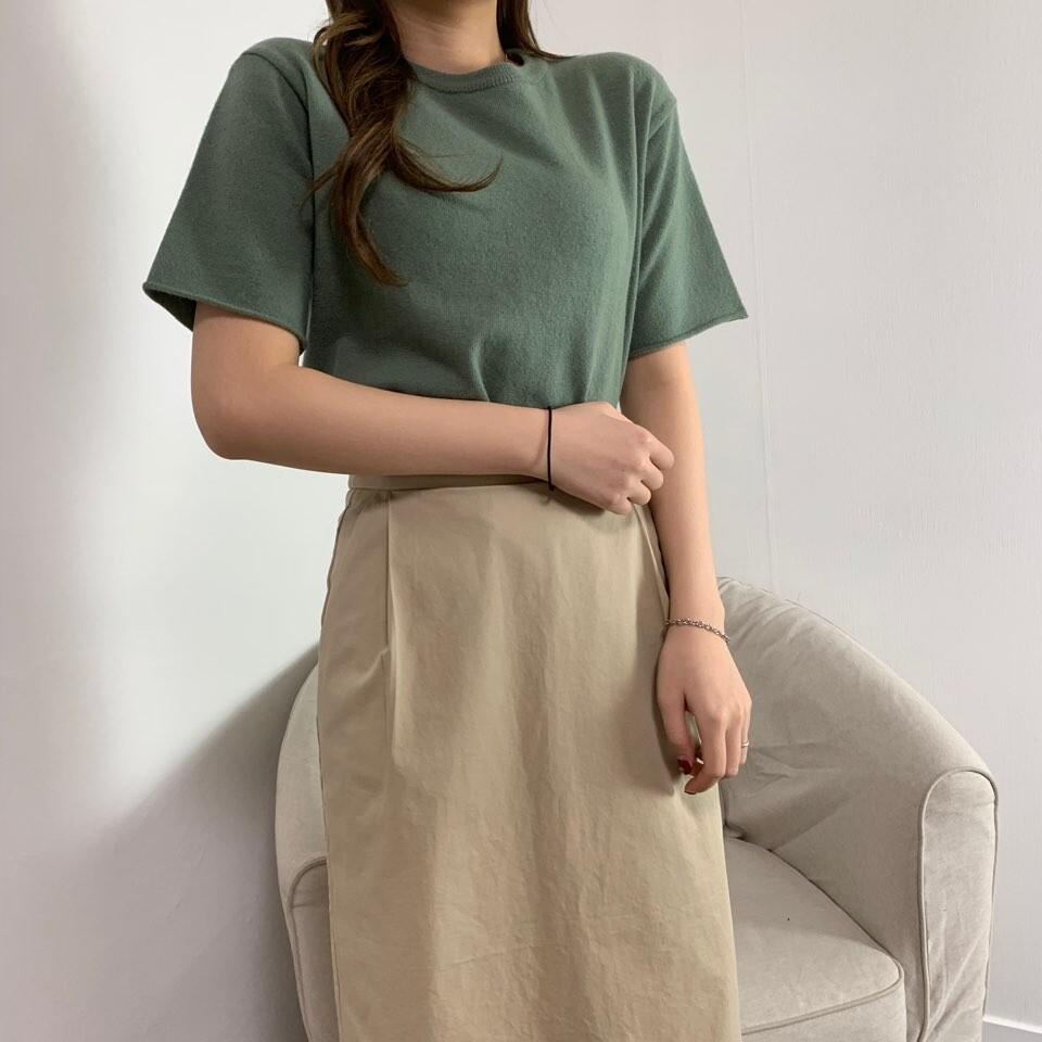 moommoom-[2컬러] 포근 니트 반팔 티셔츠♡韓國女裝上衣